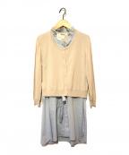 GALLERY VISCONTI(ギャラリービスコンティ)の古着「カーデセットロングシャツ」|ベージュ×ブルー