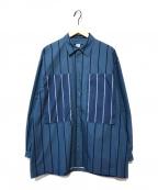E.TAUTZ(イートーツ)の古着「レインマンストライプシャツ」|ブルー