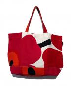 marimekko(マリメッコ)の古着「フラワープリントキャンパストートバッグ」|ピンク