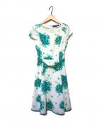 M'S GRACY(エムズグレイシー)の古着「フラワーワンピース」 ホワイト×グリーン