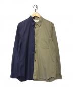 COMME des GARCONS SHIRT(コムデギャルソンシャツ)の古着「バイカラーシャツ」|オリーブ×ネイビー
