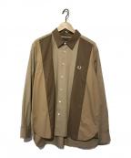 FRED PERRY(フレッドペリー)の古着「パネルシャツ / ロングスリーブシャツ」|ベージュ×ブラウン
