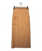 Spick and Span(スピックアンドスパン)の古着「麻ストレッチIラインスカート」|オレンジ