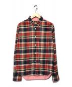 ()の古着「切替チェックシャツ」|レッド×ピンク