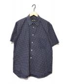 ()の古着「S/Sドット柄シャツ」|ネイビー