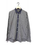 ()の古着「切替ドットギンガムチェックシャツ」|ネイビー×ホワイト