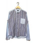 ()の古着「切替ギンガムチェックシャツ」|スカイブルー