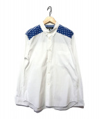 ()の古着「切替肩ドット柄シャツ」|ホワイト×ブルー