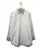 ()の古着「切替ギンガムチェックストライプシャツ」|ブルー×ホワイト