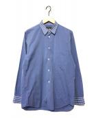 ()の古着「襟袖チェック切替シャツ」|スカイブルー