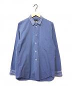 COMME des GARCONS HommePlus(コムデギャルソン オムプリュス)の古着「襟袖チェック切替シャツ」|スカイブルー