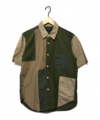 COMME des GARCONS HOMME(コムデギャルソン オム)の古着「S/Sパッチワークシャツ」 オリーブ×カーキ