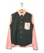 ()の古着「切替チェックBDシャツ」|ピンク×ネイビー