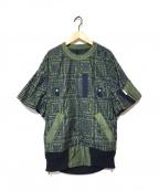 sacai(サカイ)の古着「総刺繍ペイズリーサイドジッププルオーバー」|ネイビー×オリーブ
