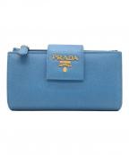 PRADA(プラダ)の古着「サフィアーノルクス / 2つ折り財布」 ブルー