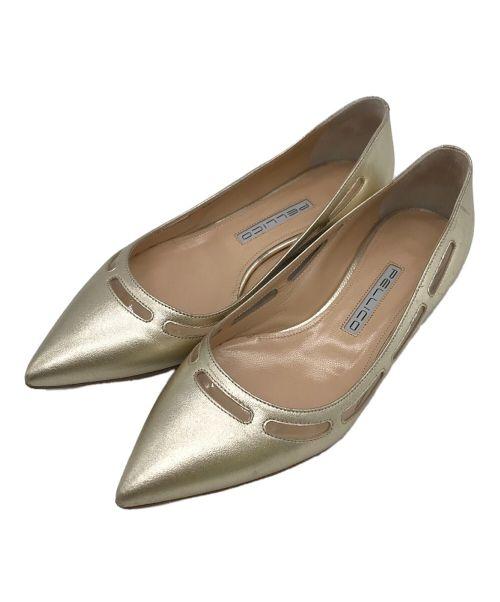 PELLICO(ペリーコ)PELLICO (ペリーコ) フラットパンプス ゴールド サイズ:37の古着・服飾アイテム