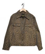 FENDI (フェンディ) レオパード柄トラッカージャケット ブラウン サイズ:42