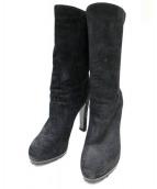 Yves Saint Laurent Rive Gauche(イヴサンローランリヴゴーシュ)の古着「BLACK SUEDE BOOTIES WITH TASSE」|ブラック