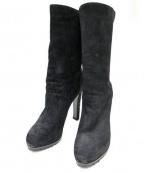Yves Saint Laurent Rive Gauche(イヴ・サンローラン リヴ・ゴーシュ)の古着「BLACK SUEDE BOOTIES WITH TASSE」|ブラック