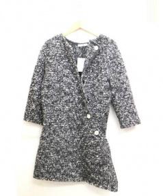 CELINE(セリーヌ)の古着「モヘア混変形ニットコート」|ライトグレー