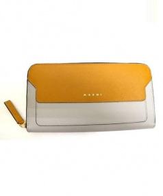 MARNI(マルニ)の古着「バイカラーラウンドレザー財布」|オレンジ×グレー