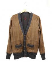 SIDE SLOPE(サイドスロープ)の古着「スウェードカーディガン」|ブラウン×グレー