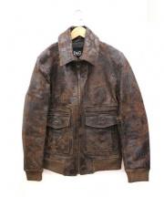 DOLCE & GABBANA(ドルチェ&ガッバーナ)の古着「ヴィンテージ加工レザージャケット」|ブラウン