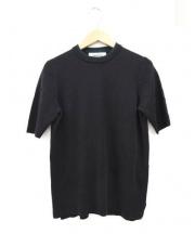ENFOLD(エンフォルド)の古着「半袖ニット」|ブラック