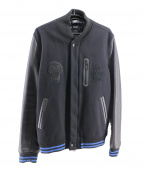 NIKE×STUSSY(ナイキ×ステューシー)の古着「レザースリーブジャケット」|ブラック