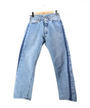 KAPTAIN SUNSHINE(キャプテンサンシャイン)の古着「BAGGY CUT STRAIGHT DENIM PANTS」 ライトインディゴ