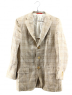 ISAIA(イザイア)の古着「リネン混チェック3Bテーラードジャケット」