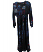 LEONARD(レオナール)の古着「シルクワンピース」|ブラック×ブルー