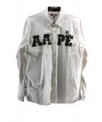 AAPE BY A BATHING APE(エーエイプ バイ ア ベイシング エイプ)の古着「カモ柄切替BDシャツ」 ホワイト
