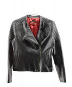 VIVIENNE TAM(ヴィヴィアン・タム)の古着「ラムレザーライダースジャケット」|ブラック×レッド