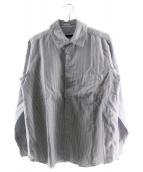 SOPHNET.(ソフネット)の古着「オックスフォードストライプビッグカラーシャツ」 ネイビー