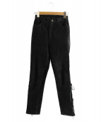 FUMIKA UCHIDA(フミカ ウチダ)の古着「カウレザーレースアップパンツ」|ブラック