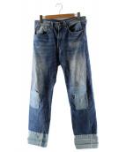 LEVIS VINTAGE CLOTHING(リーバイス ヴィンテージ クロージング)の古着「リペア加工セルヴィッチデニムパンツ」|インディゴ
