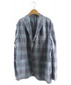BOGLIOLI(ボリオリ)の古着「シルクリネンチェックジャケット」|ライトブルー