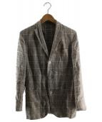 BOGLIOLI(ボリオリ)の古着「ウインドウペンチェック3Bリネンテーラードジャケット」|グレーベージュ