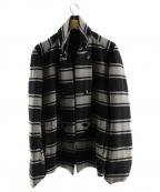 kiryuyrik(キリュウキリュウ)の古着「ウールボーダーナポレオンジャケット」|グレー×ブラック