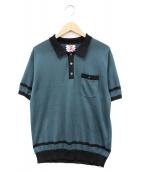 SON OF THE CHEESE(サノバチーズ)の古着「ニットポロシャツ」|グリーン×ブラック