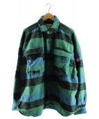 C.E(シーイー)の古着「ストライプフランネルビッグシャツ」 グリーン