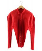 PLEATS PLEASE(プリーツプリーズ)の古着「プリーツシャツ」|レッド