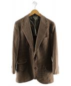 BRUNELLO CUCINELLI(ブルネロ クチネリ)の古着「ハウンドトゥースカシミヤジャケット」|ブラウン
