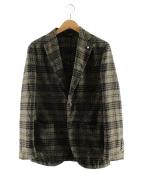 L.B.M.1911(エルビーエム1911)の古着「ウール2Bチェックテーラードジャケット」|オリーブ