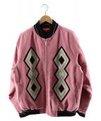 Supreme(シュプリーム)の古着「ダイヤモンドレーヨンボンバージャケット」 ピンク