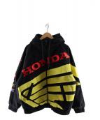 Supreme × Honda × Fox Racing(シュプリーム × ホンダ × フォックスレーシング)の古着「レーシングパフィージップアップワークジャケット」 ブラック