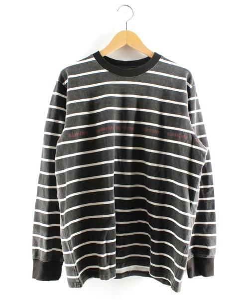 Supreme(シュプリーム)Supreme (シュプリーム) Printed Stripe Pique L/S Top ブラック サイズ:Mの古着・服飾アイテム