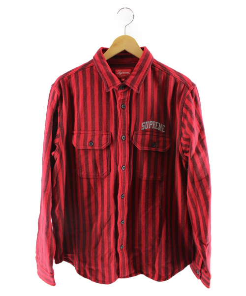 Supreme(シュプリーム)Supreme (シュプリーム) ストライプシャツ レッド サイズ:Mの古着・服飾アイテム