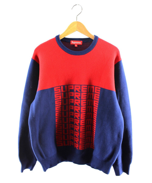 Supreme(シュプリーム)Supreme (シュプリーム) Logo Repeat Sweater ネイビー×レッド サイズ:Mの古着・服飾アイテム